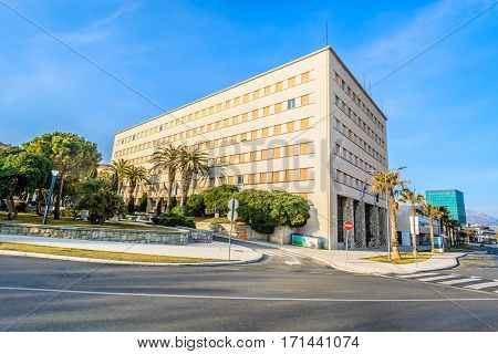 View at building in Split town at west coast, financial and political central place in Dalmatia region.