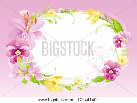 Spring summer background. Easter, Mothers day, Birthday, Wedding invitation. Flower frame lily, pansy, crocus, cherry. Isolated wreath. Nature border, vector illustration. Greeting card text lettering
