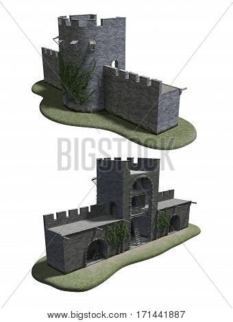 3D render of an ancient Roman watchtower.