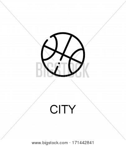 City icon. Single high quality outline symbol for web design or mobile app. Thin line sign for design logo. Black outline pictogram on white background