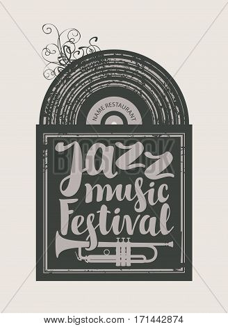 poster for the jazz festival with vinyl record and trumpet