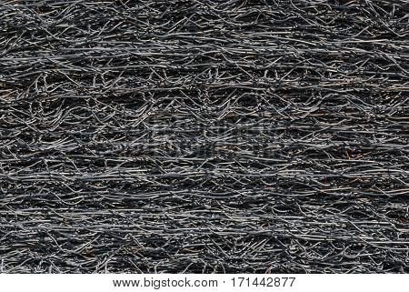 Closeup To Stack Of Steel Wire Mesh