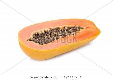 sweet papaya isolated on white background .