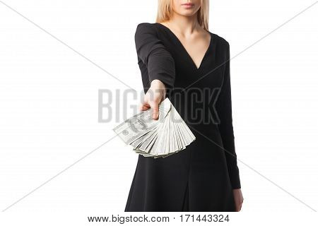 Woman wearing a black dress recounts dollars, close up