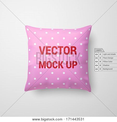 Mock Up of a Pink Pillow Isolated on White Background