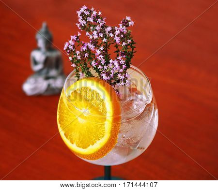 Gin Tonic with Floral Thyme and Orange Slice