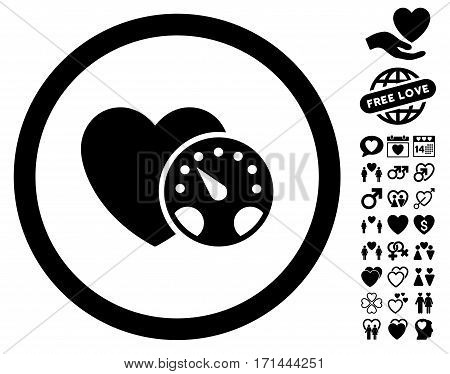 Blood Pressure Meter icon with bonus amour clip art. Vector illustration style is flat iconic black symbols on white background.
