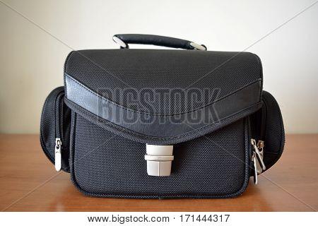 Balck Shoulder Video Camera Bag on Table