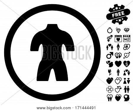 Body pictograph with bonus love icon set. Vector illustration style is flat iconic black symbols on white background.