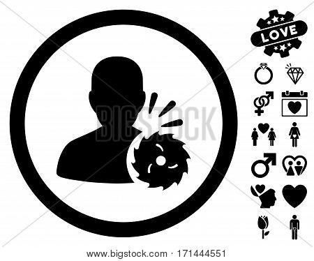 Body Execution pictograph with bonus love design elements. Vector illustration style is flat iconic black symbols on white background.