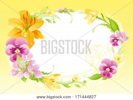 Spring summer background. Easter, Mother day, Birthday, Anniversary, Wedding invitation. Flower frame lily, pansy flyer. Isolated wreath. Nature border, flat vector illustration. Holiday greeting card