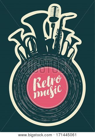 poster for the retro music festival with vinyl record wind instruments and microphone