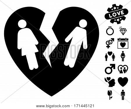 Broken Family Heart pictograph with bonus romantic pictures. Vector illustration style is flat iconic black symbols on white background.