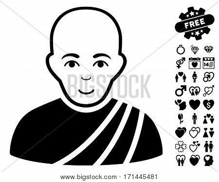 Buddhist Monk pictograph with bonus amour pictograms. Vector illustration style is flat iconic black symbols on white background.
