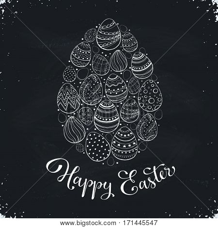 Composition with easter eggs hand drawn on blackboard. Easter greeting card in egg shape.