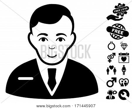 Businessman pictograph with bonus amour graphic icons. Vector illustration style is flat iconic black symbols on white background.