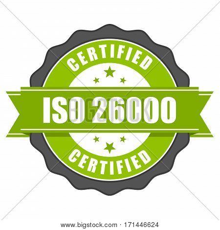 ISO 26000 standard certificate badge - Social responsibility