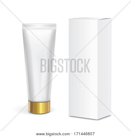 Cosmetic tube container with gold lid and white box isolated on white background. Mock up packaging.