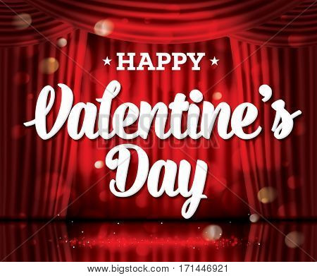 Happy Valentine's Day. Open Red Curtains with Neon Lights and Copy Space. Theater, Opera or Cinema Scene. Light on a Floor