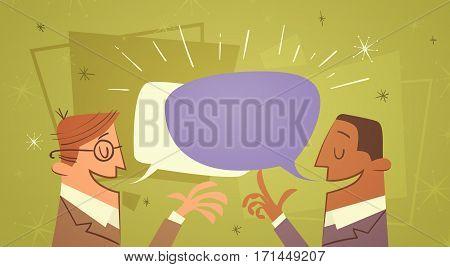 Two Businessman Talking Chat Box Bubble Communication Business Man Flat Vector Illustration