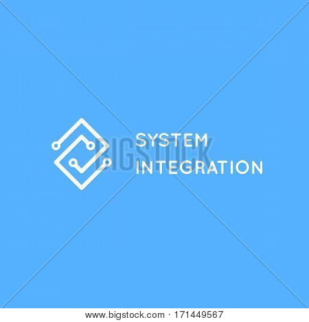 System Integration abstract logo. Electric scheme line art logotype concept. Computer systems IT company business card template.