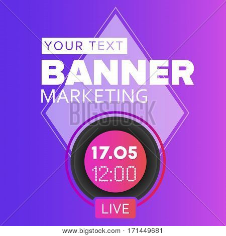 Live video blog vector social media time/date icon. Rounded live stream promotional banner photo template.