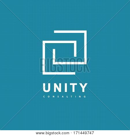 Unity Consulting Abstract logo. Partnership concept line art logotype. Business consulting business card template.