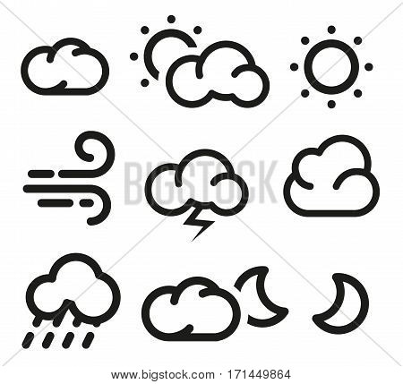 Isolated black and white color elements of weather forecast icons collection in lineart style