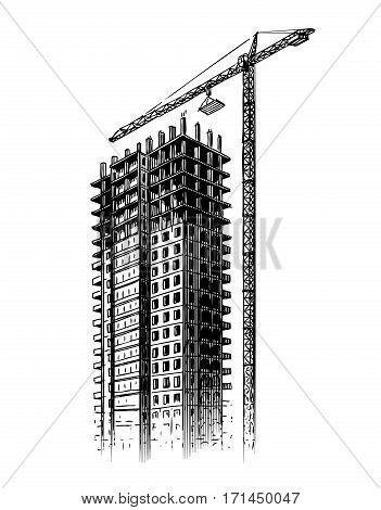 Construction site with crane, vector illustration. Hand drawn building, house sketch isolated on white background