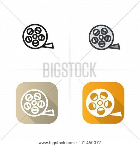 Film reel icon. Flat design, linear color styles. Isolated vector illustrations