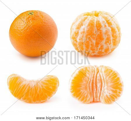tangerine or clementine and peeled segments isolated on white background with clipping path