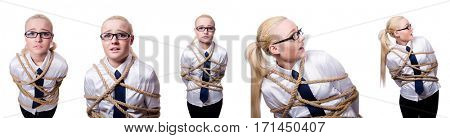 Businesswoman tied up with rope isolated on white