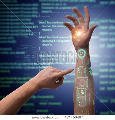Human robotic hand in futuristic concept