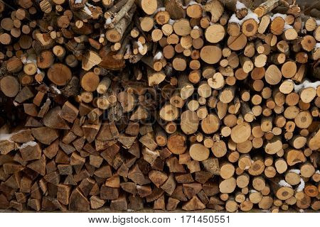 Firewood stacked in a woodpile. background .