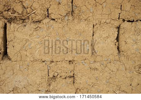 Old rustic Earthen house's wall background .