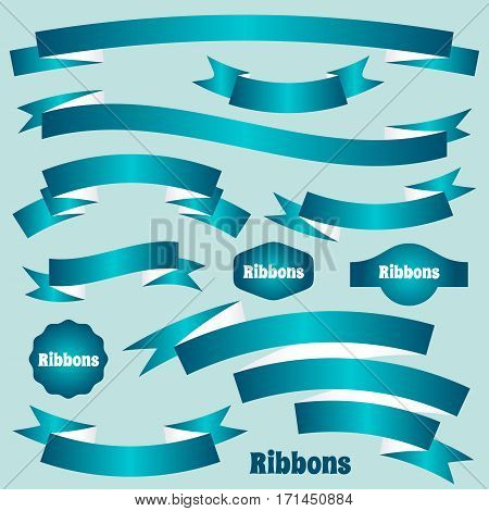 Turquoise paper vector retro ribbon banners and labels