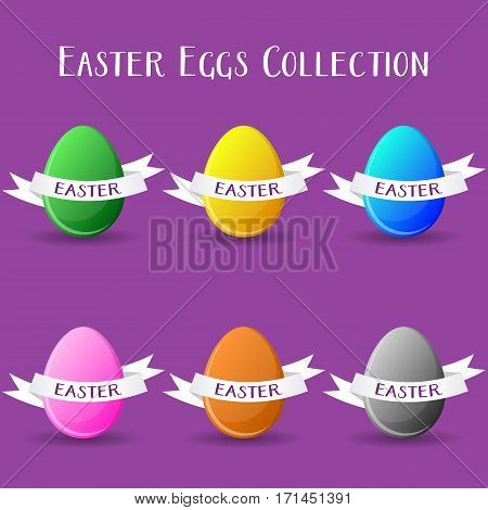Vector easter eggs collection with paper text ribbons