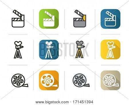 Filming icons set. Flat design, linear and color styles. Movie clapperboard, film camera, reel symbol. Isolated vector illustrations