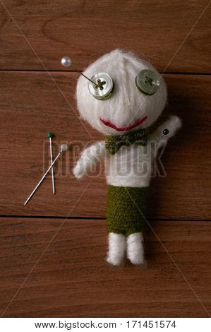 Cute Little Voodoo Doll with pins.Top veiw