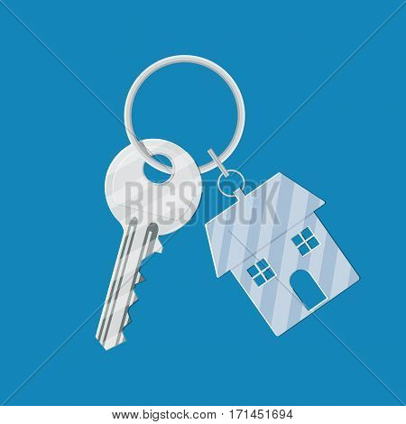 Metal key with keychain house. vector illustration in flat style