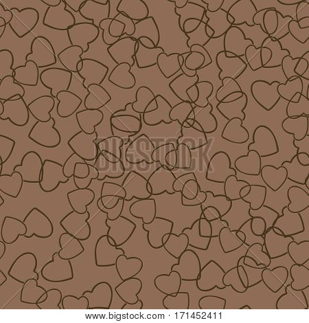 Two hearts seamless pattern. Chocolate color pairs of heart symbols randomly placed on brown background. Stylized texture for Valentine day gift or greeting card design. Vector eps8 illustration.