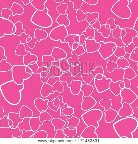 Two hearts seamless pattern. White pairs of heart symbols randomly placed on pink background. Romantic wrapping texture for Valentine day gift or greeting card design. Vector eps8 illustration.
