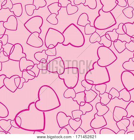 Two hearts seamless pattern. Red pairs of heart symbols randomly placed on pink background. Love wrap texture for Valentine day gift or greeting card design. Vector eps8 illustration.