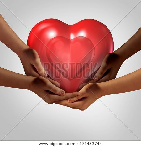 Global society love and Community health symbol as diverse hands holding a red heart as a symbol for caring in society with many cultures coming together for success with 3D illustration elements.