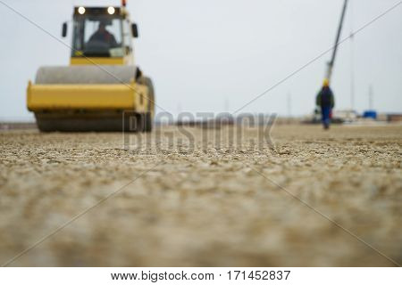 Roadworks and Road roller.Concept of Asphalt laying