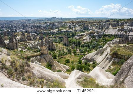 Stone formations in Cappadocia Central Anatolia Turkey