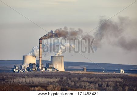Power plant emitin smoke and steam