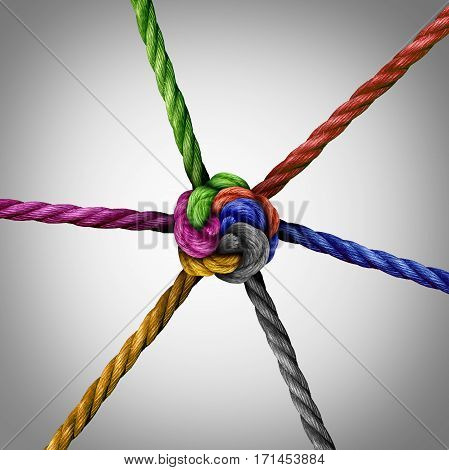 United together symbol and diversity connection as a group of ropes tied at a central point as a business metaphor for corporate or community cooperation success.