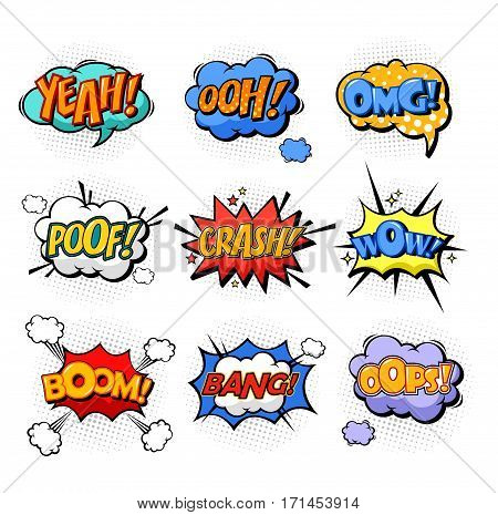 Onomatopoeia or comic bubble speech for cartoon replica like yeah and oh, ooh and splash, omg and oops, poof and boom, bang explosion signs, dialog exclamation. Cloud with text and communication