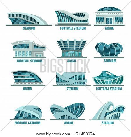 Variety of soccer or football stadiums. Set of isolated sport arena buildings for championship or competition. Glassware modern structures logo or banner, icons or signs. Game match event outdoor view